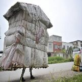 Makeshift Walking House in China