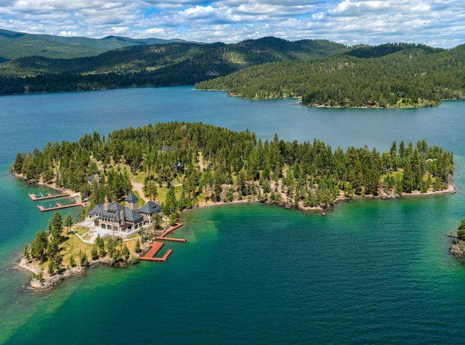 Amazing Mansion Island Estate in Flathead Lake, Montana, USA